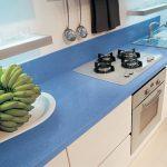 quartz plan de travail bleu sur mesure qualite cuisine