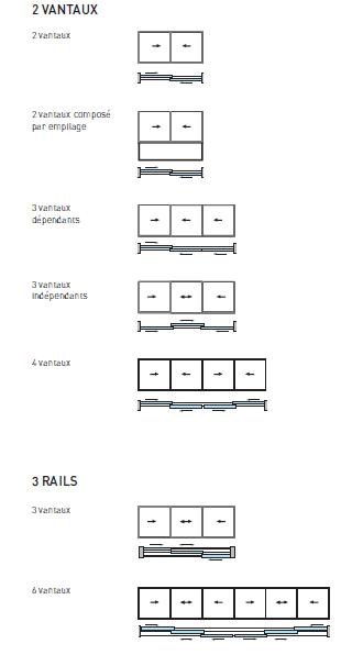 coulissant gyn 55 baie vitree soleal technal vantaux rails