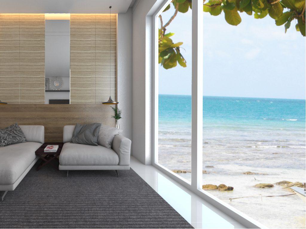baie vitree aluminium blanche vue villa mer menuiserie guadeloupe