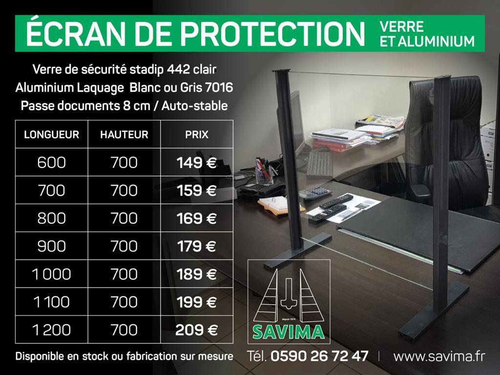 ecran protection covid verre aluminium projection accueil commerce magasin surmesure