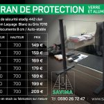 ecran protection covid verre aluminium projection accueil commerce magasin surmesure